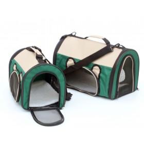 Pet Carrier - mala de tranporte - peq - verde/bege - 34x22,5x24cm - dobrável - teto arredondado - cabine