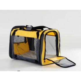 Pet carrier - Mala para transporte - amarela - 62x34x40cm - dobrável - vai em cabine de avião
