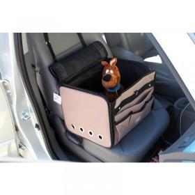 Booster seat - assento/bolsa para carro - 42x32x29cm -caqui - com alça e trava interna - permitida em avião - café