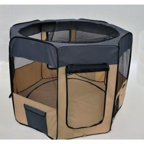 Playpen - Cercado para cães e gatos -Cinza e Bege  - 48x58 - 8 paineis- Diâmetro 152 cm