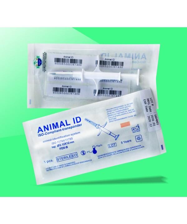 Microchip de identificação animal com aplicador - esterelizado - 6 etiquetas - 2,12x12mm