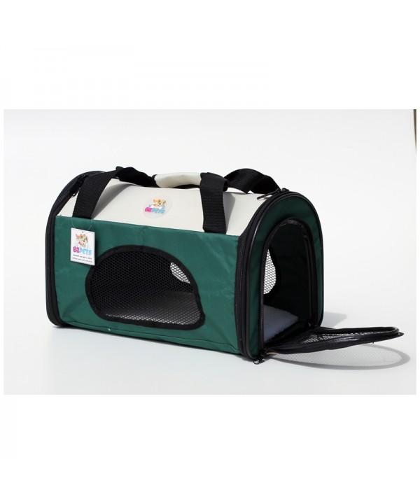 Pet Carrier - mala de tranporte para pets- tamanho médio - verde/bege - 42x25x27cm - dobrável - permitida em cabine