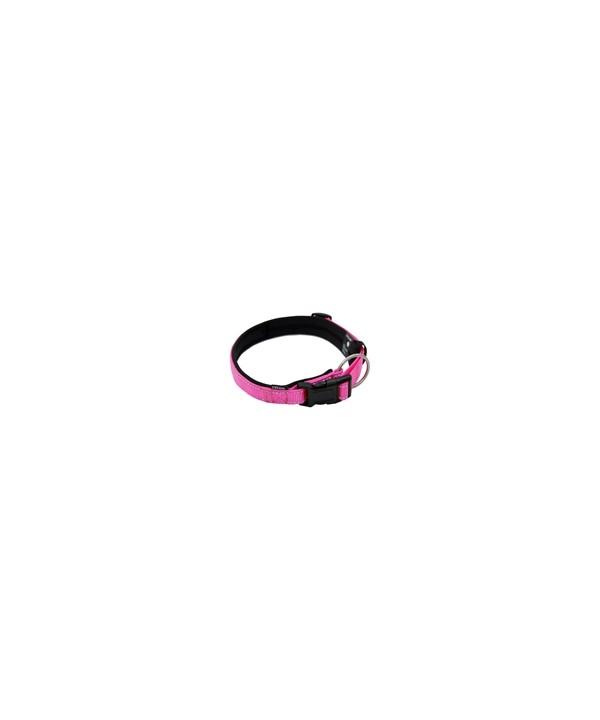 coleira em lona, revestida com acolchoado de neoprene, com trava e argola de mosquetão, para cães de até 20 kgs - circunferência de pescoço de 30 cm - cor rosa