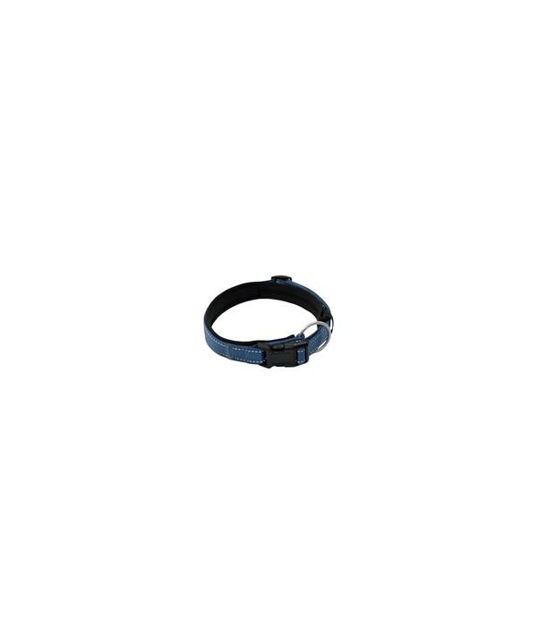 coleira em lona, revestida com acolchoado de neoprene, com trava e argola de mosquetão, para cães de até 25 kgs - circunferência de pescoço de 40 cm - cor azul
