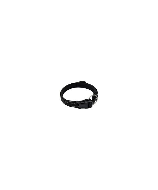coleira em lona, revestida com acolchoado de neoprene, com trava e argola de mosquetão, para cães de até 25 kgs - circunferência de pescoço de 40 cm - cor preta