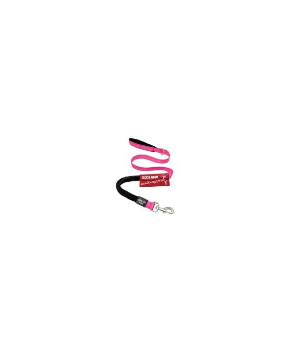 Guia flexível, para pets, em lona, revestida com neoprene, com faixa refletiva de segurança, 1,20 mt de comprimento, 1,50mt esticada, para pets de até 20kgs - cor rosa