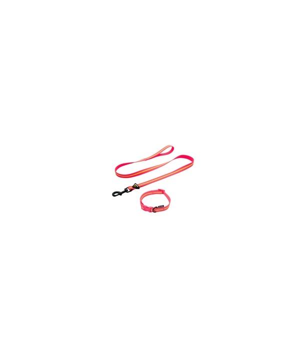 Guia impermeável, em borracha com lista refletiva- média - 25mm largura - com 1,20mt - para pets de até 30 kgs. - cor - rosa e amarelo