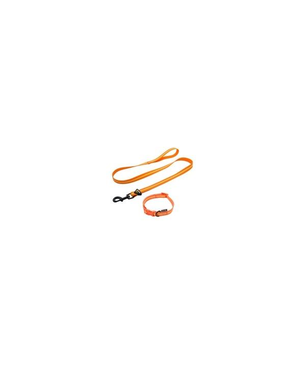 Guia impermeável, em borracha com lista refletiva- média - 20mm largura - com 1,20mt - para pets de até 15 kgs. - cor -  laranja e amarelo