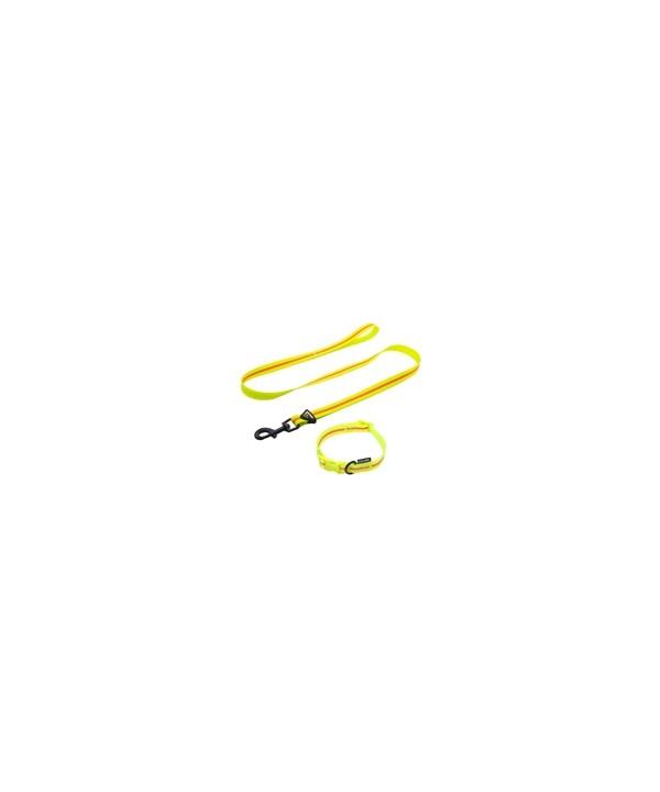 Guia impermeável, em borracha com lista refletiva- média - 25mm largura - com 1,20mt - para pets de até 30 kgs. - cor - amarelo e laranja