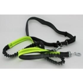 Guia de Cintura com poxete para caminhada/corrida  com cães- Amarelo e Cinza peso 0,290 kg