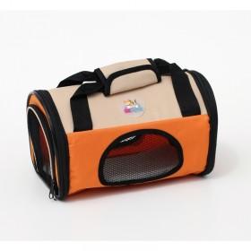 Bolsa de transporte de pets - dobrável - tamanho pequeno - 30x18x18,5cm - bege/laranja
