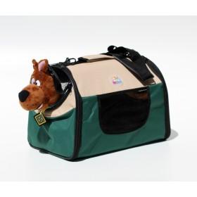 Pet Carrier - mala de tranporte para pets- tamanho pequeno - verde/bege - 34x22x24cm - dobrável - permitida em cabine