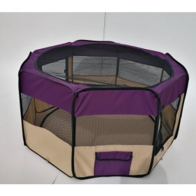 Playpen - Cercado para cães e gatos - Roxo e Bege  - 48x58 - 8 paineis- Diâmetro 125 cm