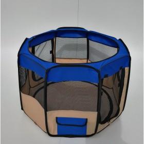 Playpen - Cercado para cães e gatos Azul e Bege- 35x58- 8 paineis- Diâmetro 90 cm