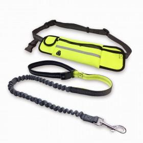Guia de Cintura para caminhada/corrida com cães- Amarelo e Cinza peso 0,320 kg