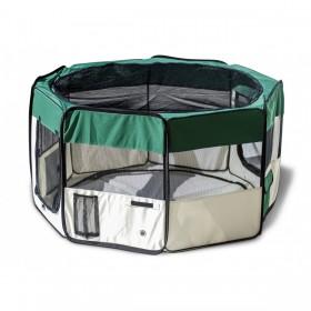 Playpen - Cercado para cães e gatos - Verde e Bege  - 45x58 - 8 paineis- Diâmetro 114 cm