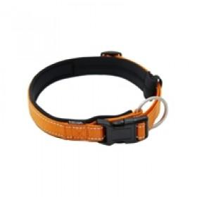 coleira em lona, revestida com acolchoado de neoprene, com trava e argola de mosquetão, para cães de até 20 kgs - circunferência de pescoço de 30 cm - cor laranja