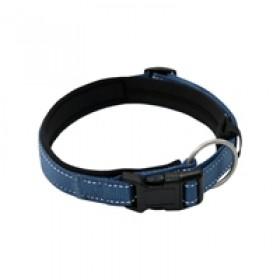 coleira em lona, revestida com acolchoado de neoprene, com trava e argola de mosquetão, para cães de até 30 kgs - circunferência de pescoço de 50 cm - cor azul