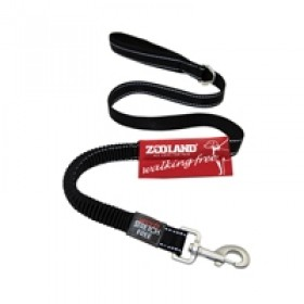Guia flexível, para pets, em lona, revestida com neoprene, com faixa refletiva de segurança, 1,20 mt de comprimento, 1,50mt esticada, para pets de até 20kgs - cor preta