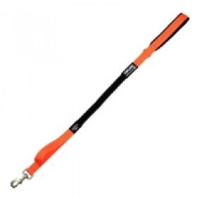 Guia flexível, para pets, em lona, revestida com neoprene, com faixa refletiva de segurança, 0,85 mt de comprimento, 1,25mt esticada, para pets de até 30kgs - cor laranja